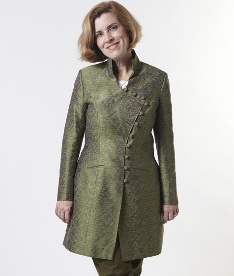Leslie's Assymetric green brocade jacket with Mandarin Collar