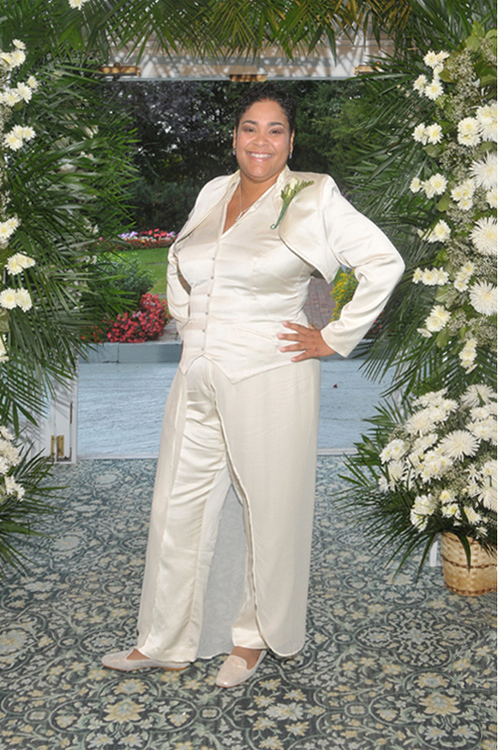 Our client Renee looking fabulous in her custom design wedding suit.