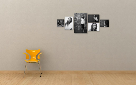 High school senior pictures on a wall of a young woman on a gray wall with a yellow chair, photographed by the Portland high school senior photographers at Campbell Salgado Studio in Portland, Oregon