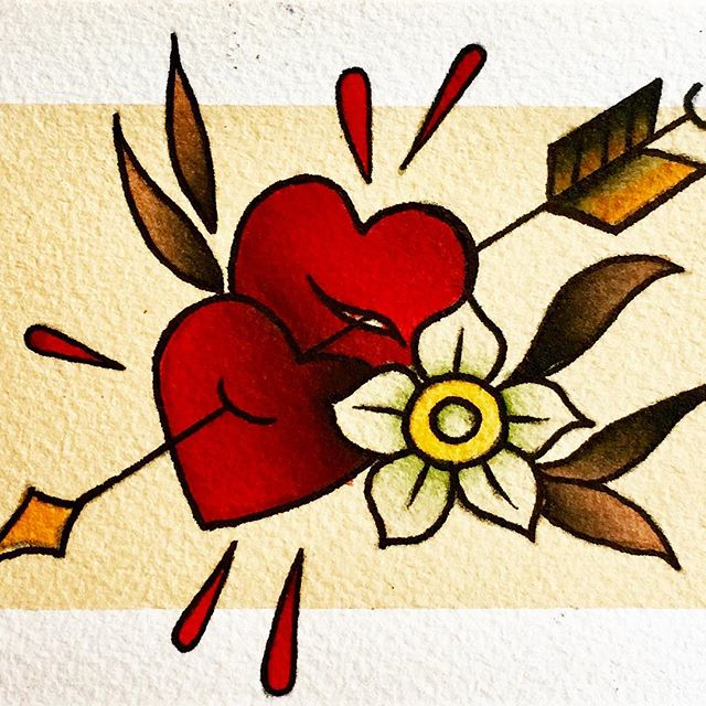 Hand painted with love XOXO COURT ♥️🌹♥️🌹♥️🌹 Available as a tattoo! DM for inquiries. #painting #courtlandtattoos #watercolorpainting #handpainted #withlove #love #vintagevalentine #hearts #tattooflash #tattooart #tattoos