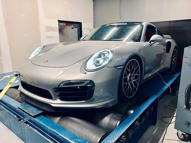 Our shop 991 Turbo S on the rollers getting tuned and ready for some events! Who wants to guess power & torque at the wheels? #turboS #991 #cobb #tuning #halfmileracing #performance #freedperformance #pdk #exotic #instacar #instagarage #blacklist #bigturbo