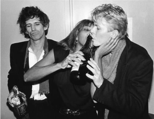 Keith Richards, Tina Turner, & David Bowie by  Bob Gruen