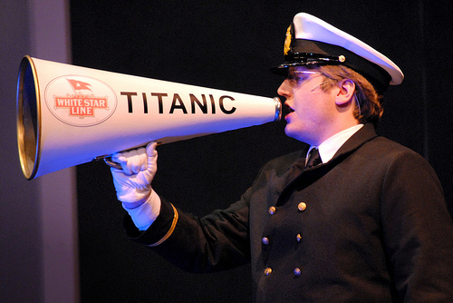 How not to use a telescope.  Titanic 8238  by Mraz Centre for the Performing Arts/ cc