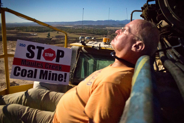 Retired geophysicst and full-time legend Glen Torr locked himself to a drill, preventing a day's work on the mine.