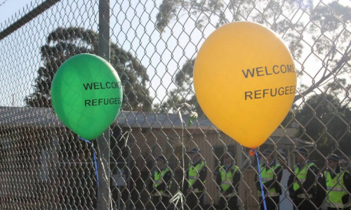 Refugee rights protest in Melbourne. Image via  John Englart/Creative Commons .