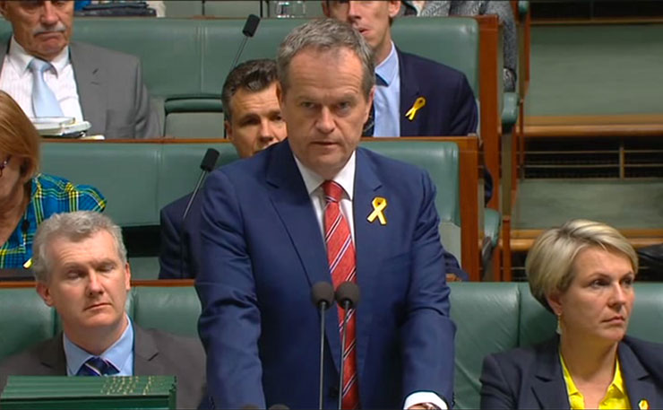 Leader of the Opposition, Bill Shorten, pictured in parliament in October 2015.
