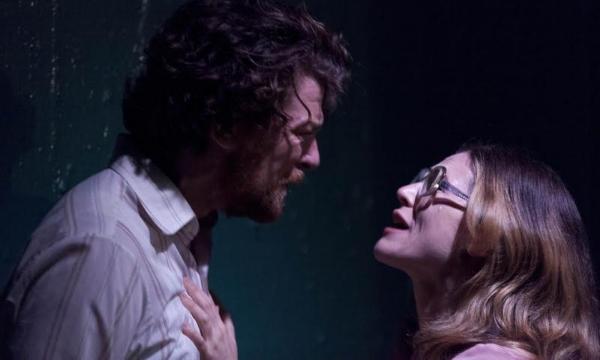 Dan Spielman (Allen Fitzgerald) and Yael Stone (Louise Kraus) in  The Blind Giant Is Dancing . Photo by Brett Boardman.