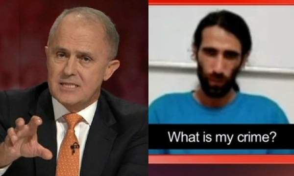 Prime Minister Malcolm Turnbull and Iranian Kurdish writer Behrouz Boochani. Image:  Q & A , ABC TV.