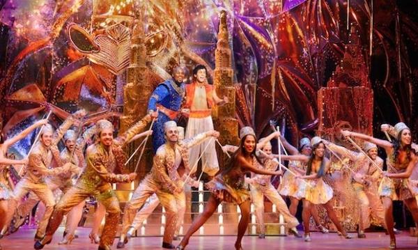 The cast of  Aladdin The Musical . Image via Disney.