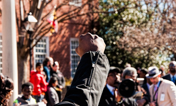 A #blacklivesmatter rally in Annapolis, to support greater police accountability. (Image: SocialJusticeSeeker812, Flickr)