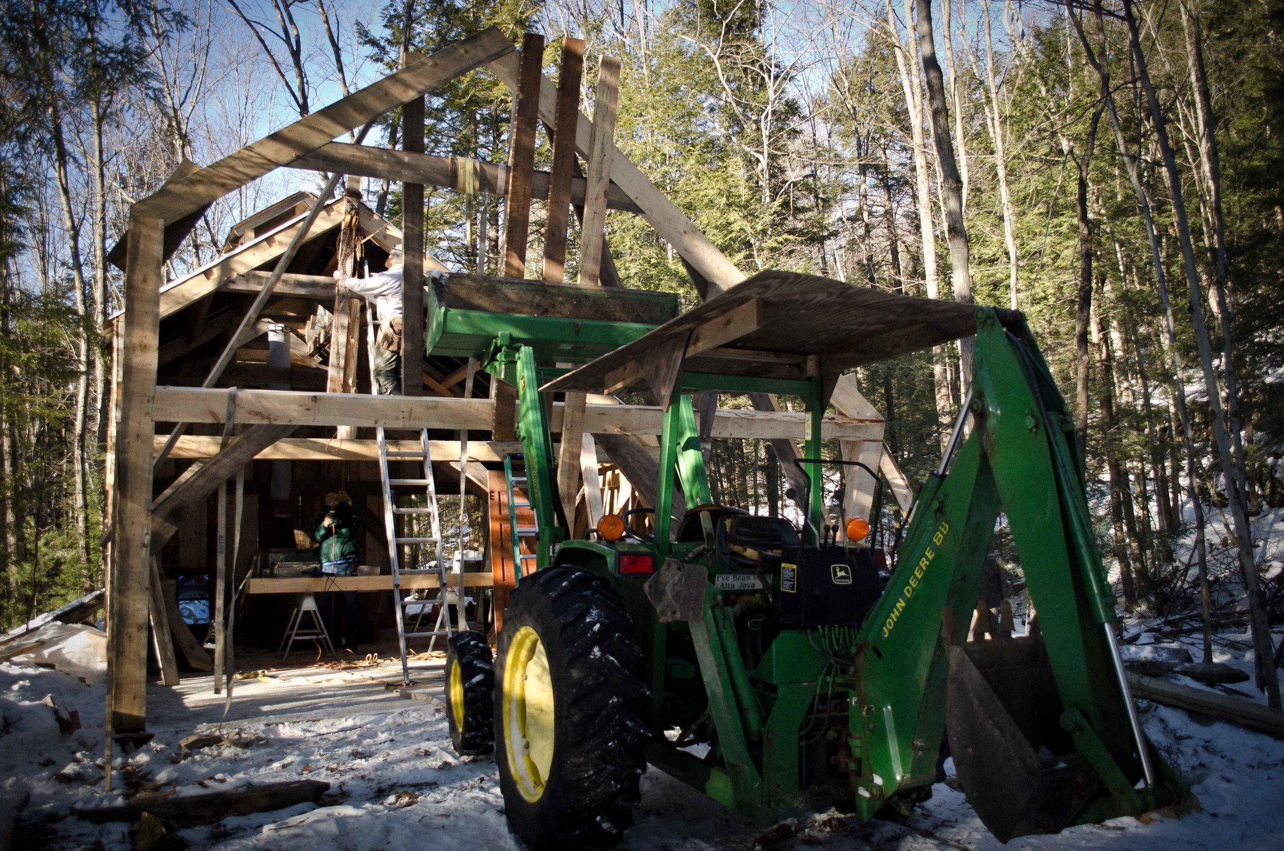 Timber Frame, Sugar Shack, John Deere Tractor, Bolton Landing, Bixby's Best, Maple Syrup