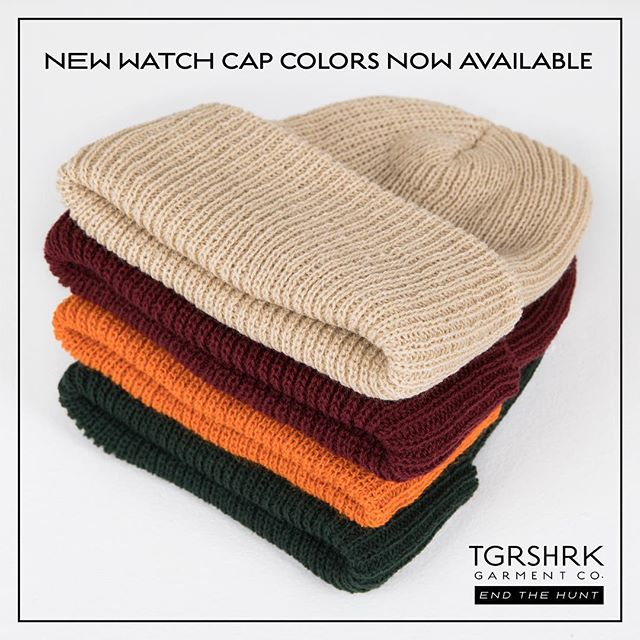 WATCH CAP DROP // NEW COLORS OUT NOW // SHOP TGRSHRK.com // + enjoy 40% off all other items on the site #EndTheHunt #TGRSHRK #MadeinUSA #limitedstock