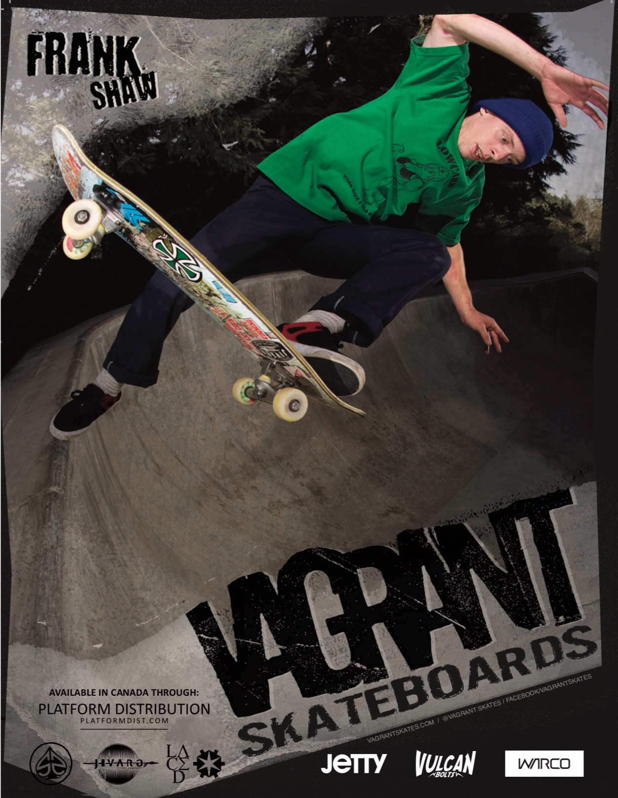 Vagrant Skateboards ad in Concrete Magazine