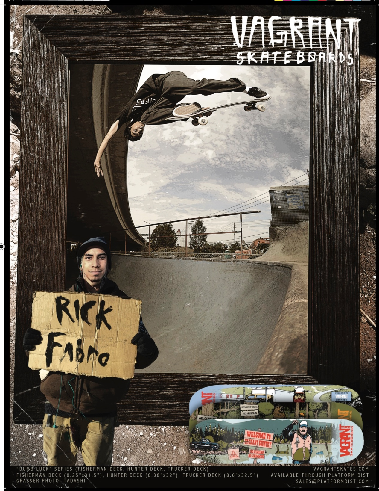 Vagrant Skateboards ad in Concrete Magazine