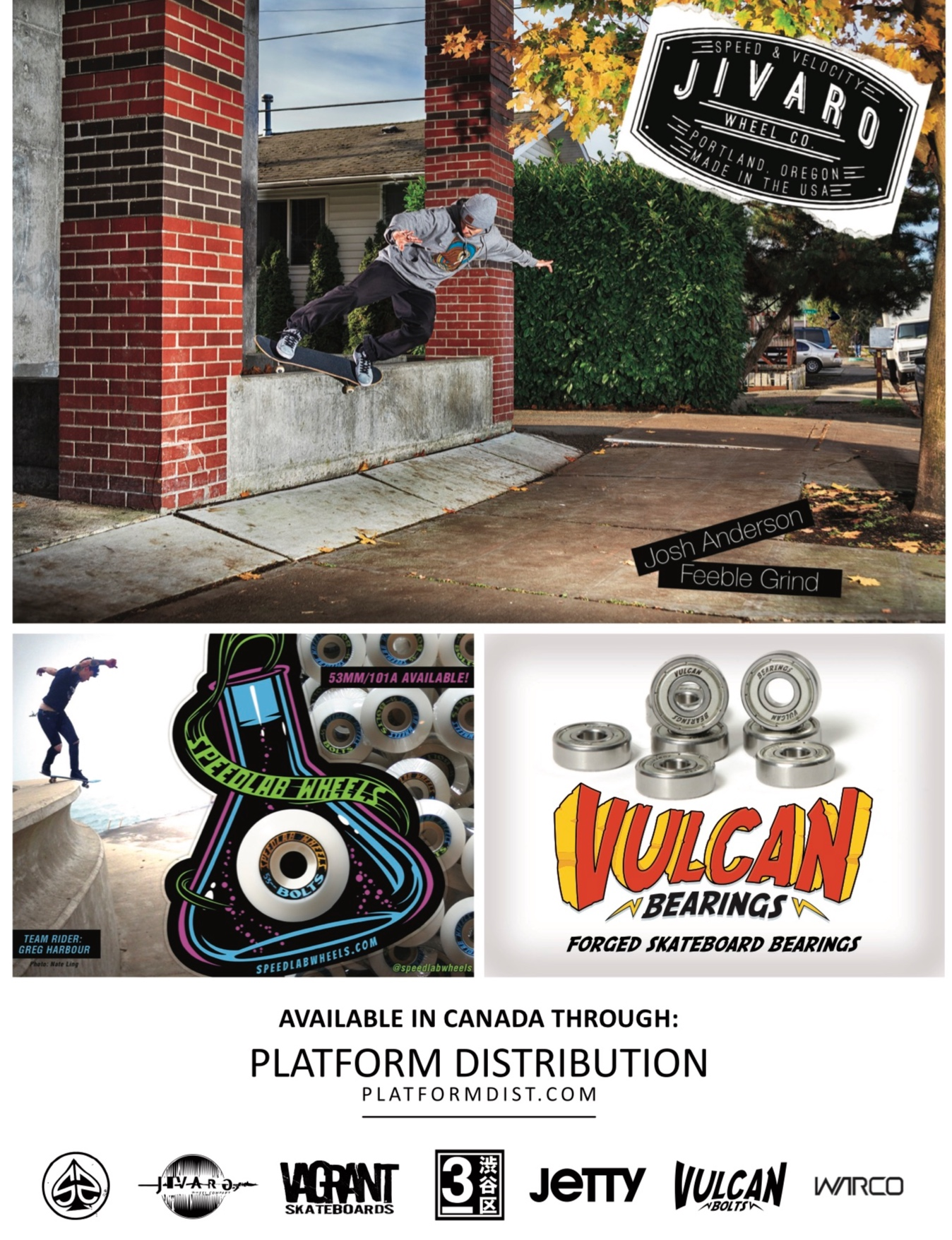 Jivaro Wheels, Speedlab Wheels and Vulcan Bearings ad from Concrete Magazine