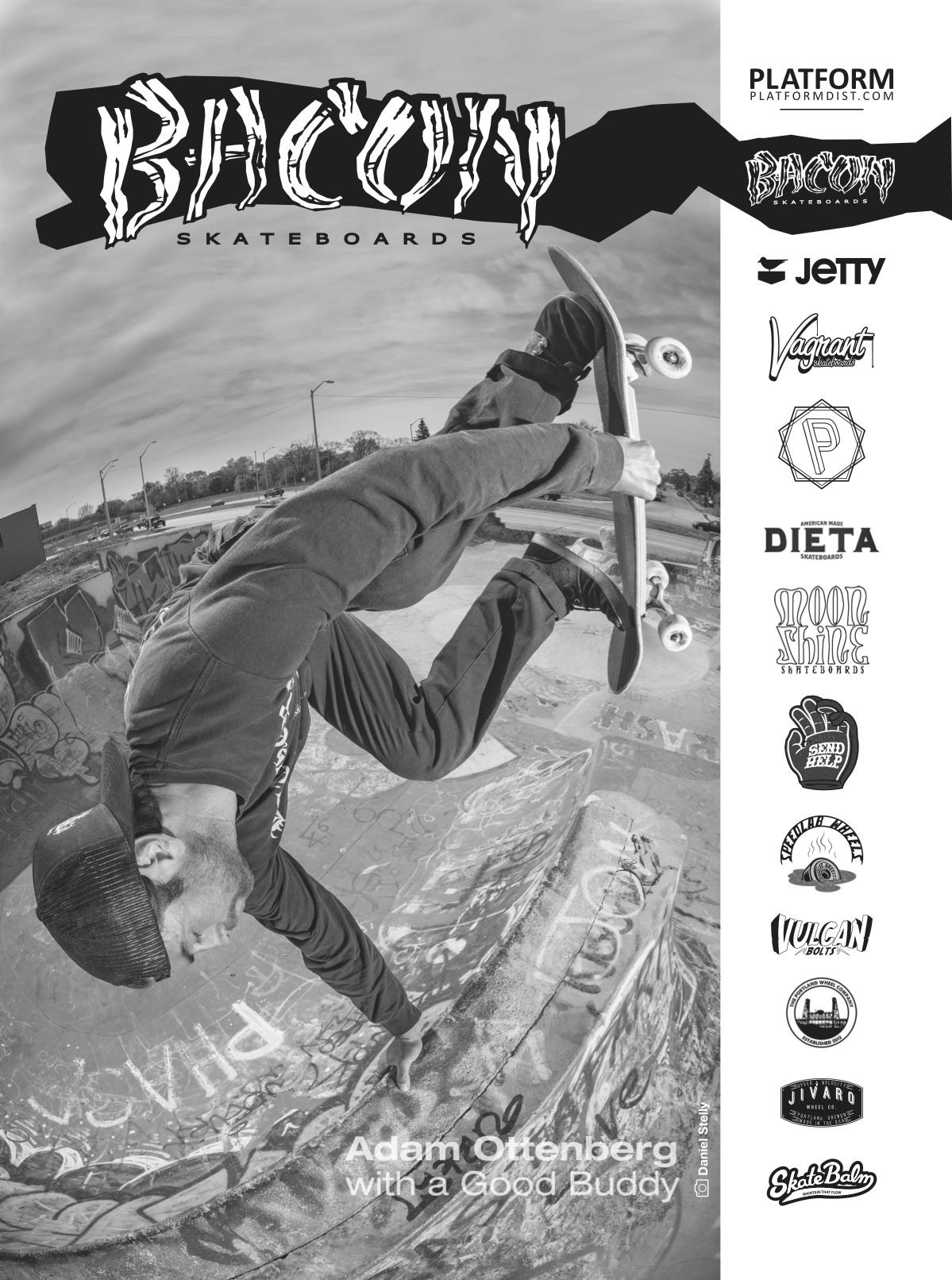 Bacon Skateboards ad in The Tubuloids Flexizine