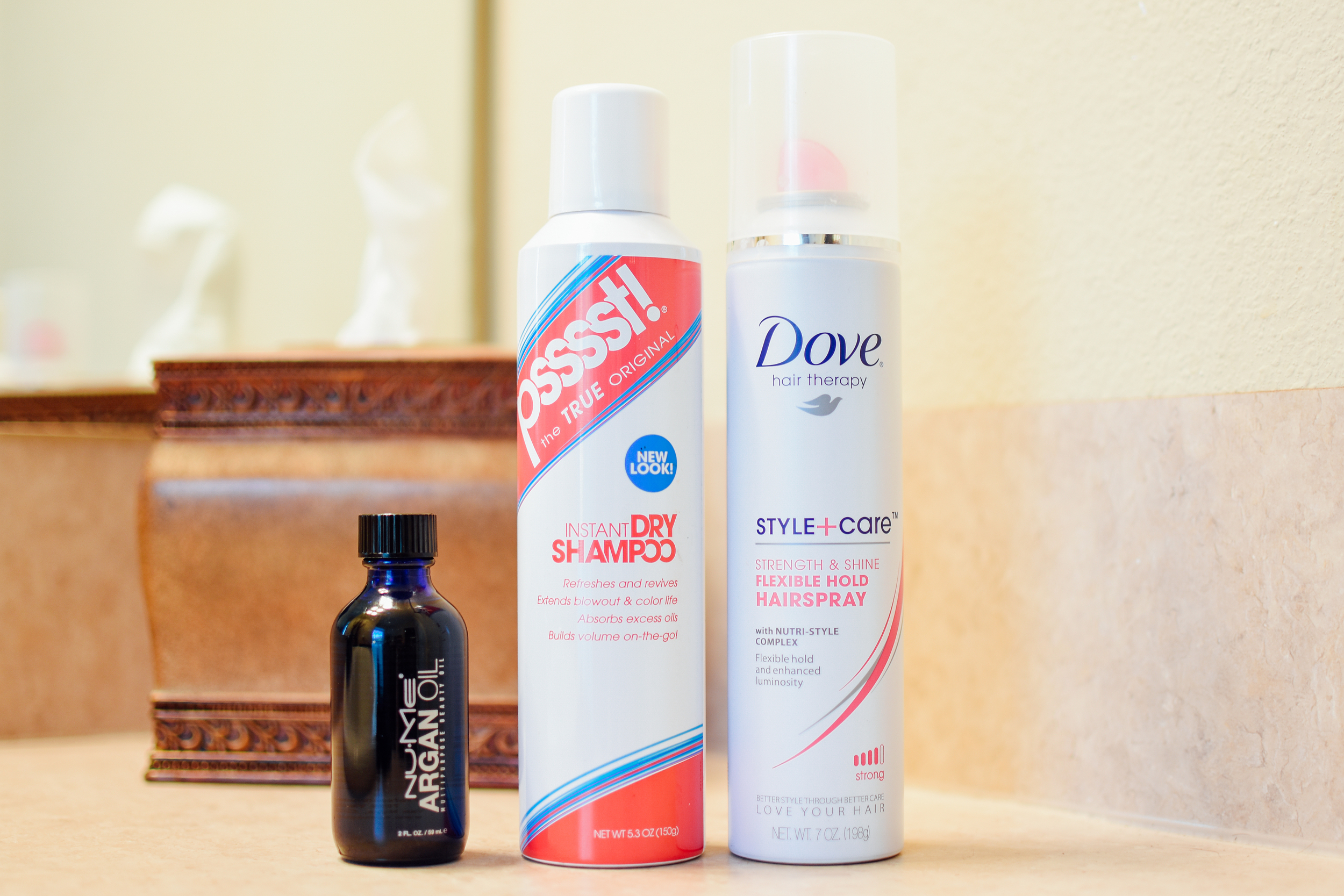 NUME Argan Oil ,  PSSSST! dry shampoo , and  Dove flexible hold hairspray