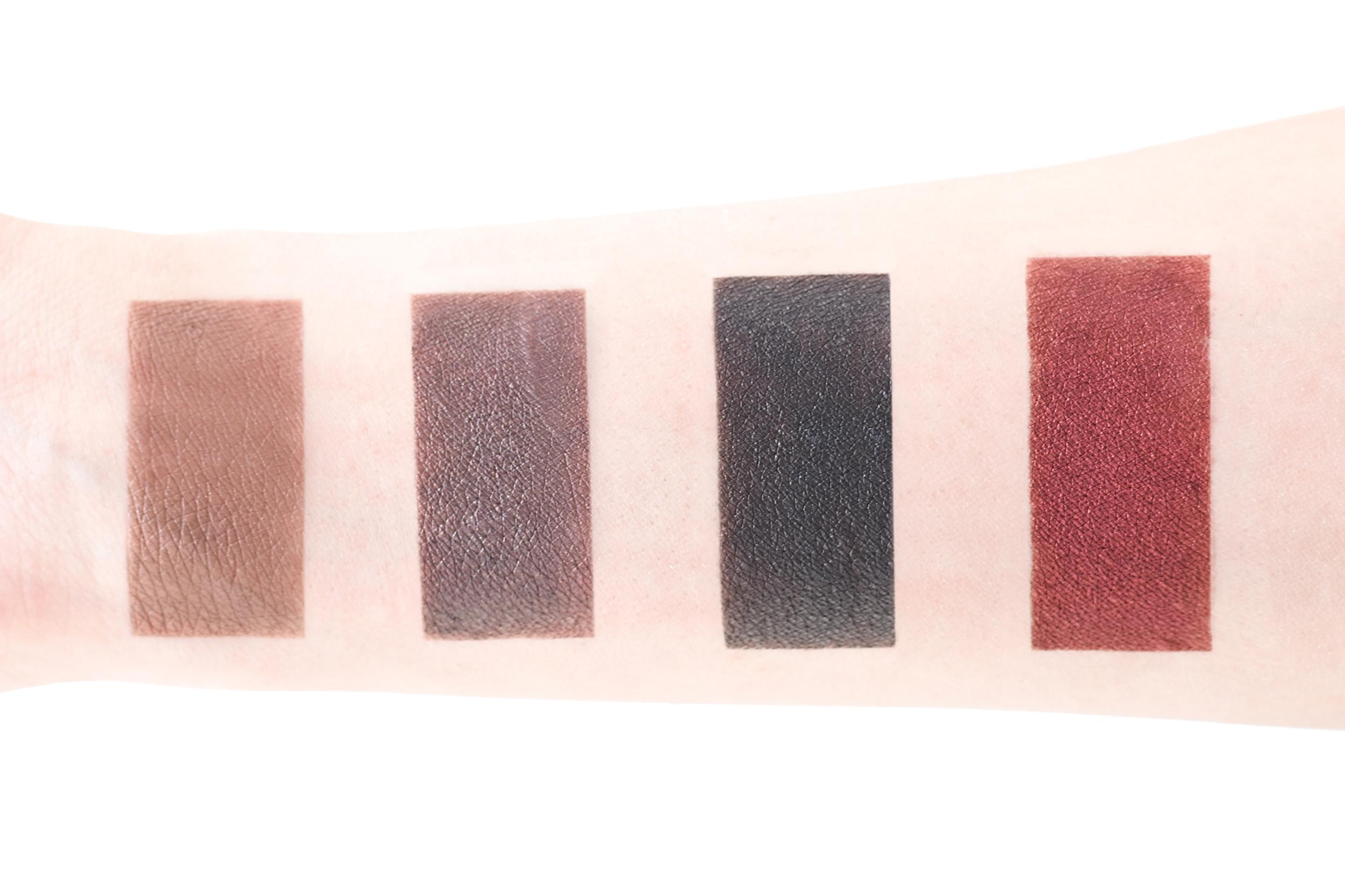 Left to Right: Half Light , Serpent de Mer , Obsidian ,& Viscera Ash and Ember Eye Soot