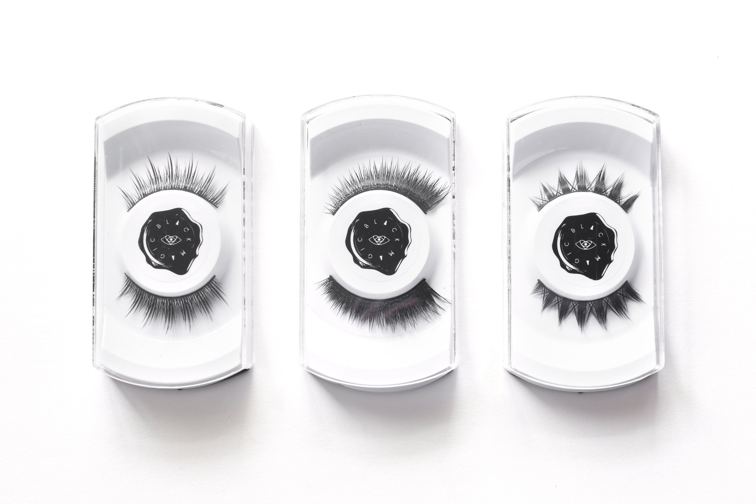 Faux lashes from  the Enigma Collection  (left to right):  Paradox ,  Raven , &  Riot