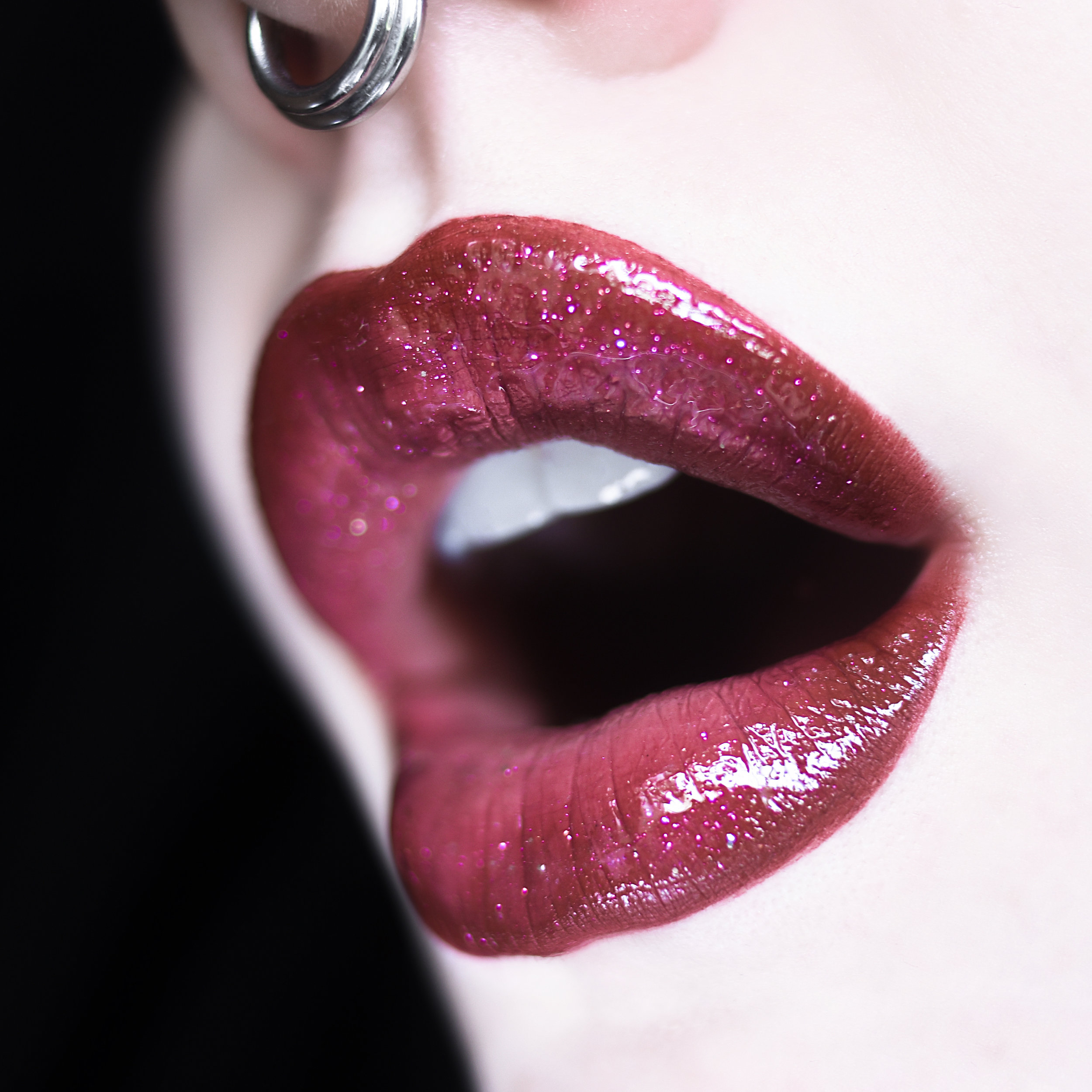 """Wearing """"Lustful"""" and """"Butt Naked."""" Topped with sparkly, pink gloss."""