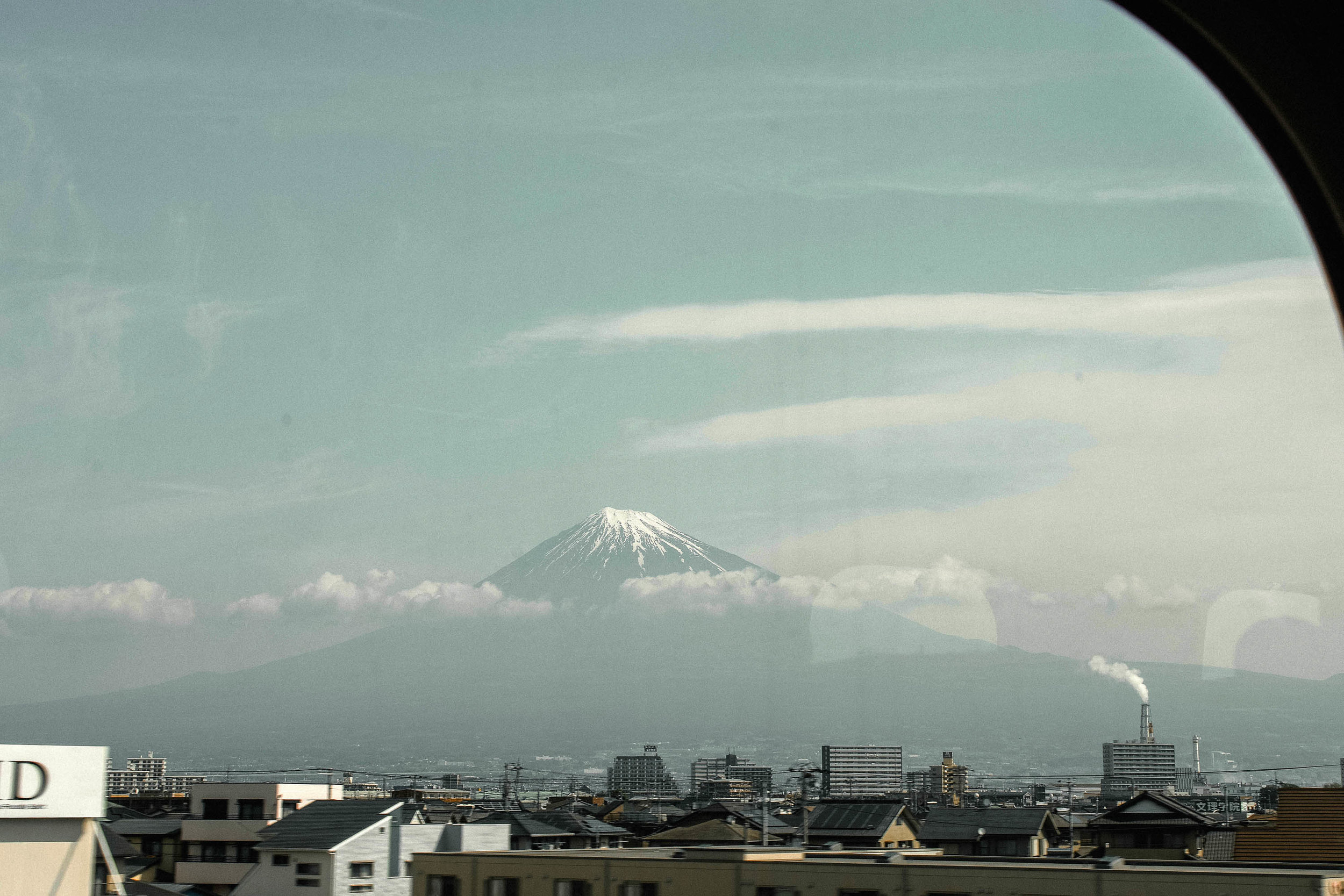 View of Mt Fuiji from the shinkansen.