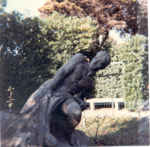 Eliseo posed for this statue when he was a young man in Rome. It now resides in the courtyard of a villa