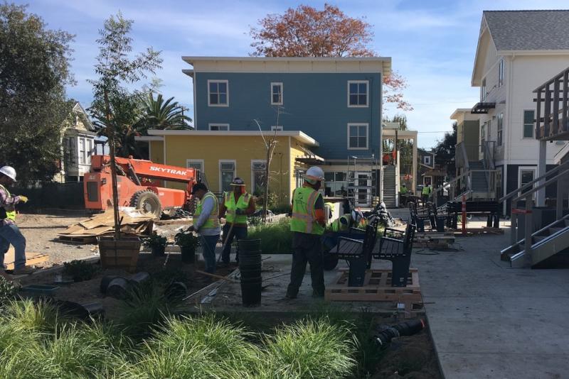 Landscape construction on Eagle Ave. Housing