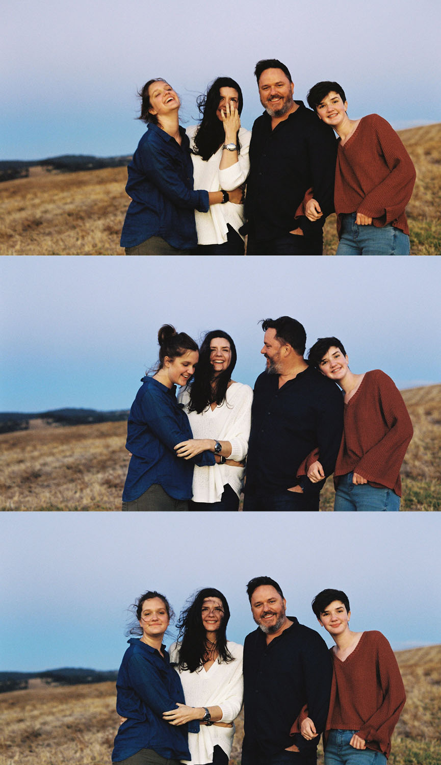 Third generation family, Kate and Paul and their daughters Elizabeth and Josephine Atkins. (Shot by Bentinmarcs on Kodak Portra 400 120 processed and scanned by us)