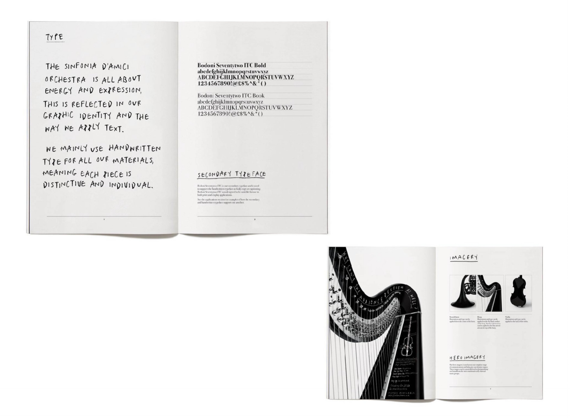 Structure in chaos - The development of the visual identity included a nod to classical music with the use of a classic typeface, Bodoni. This added an element of structure to communications pieces.