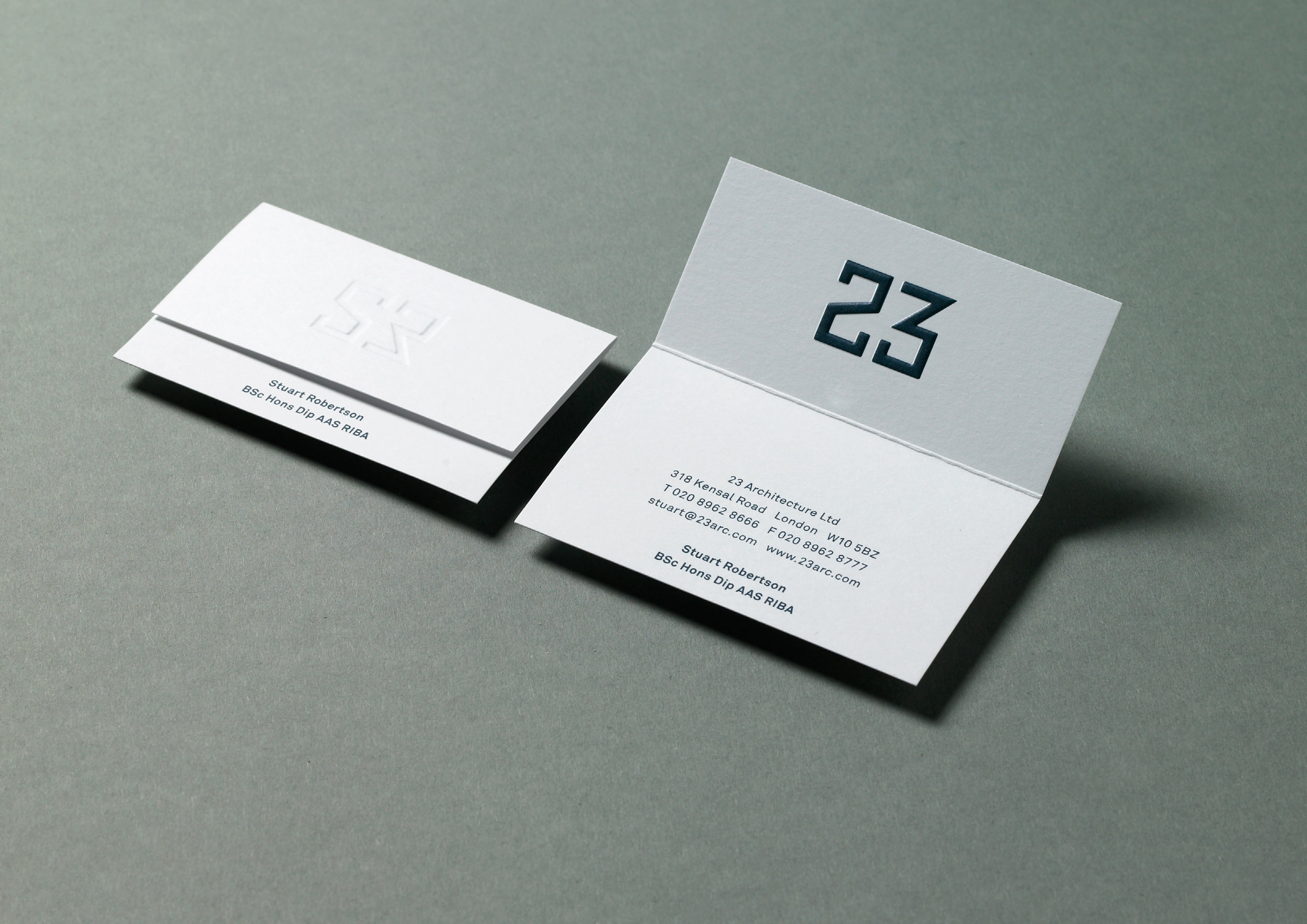 23 Architects - Visual Identity for 23 Architects using the initials of founder Stuart Robertson. The logo is a play on the founders initials as well as the company name.