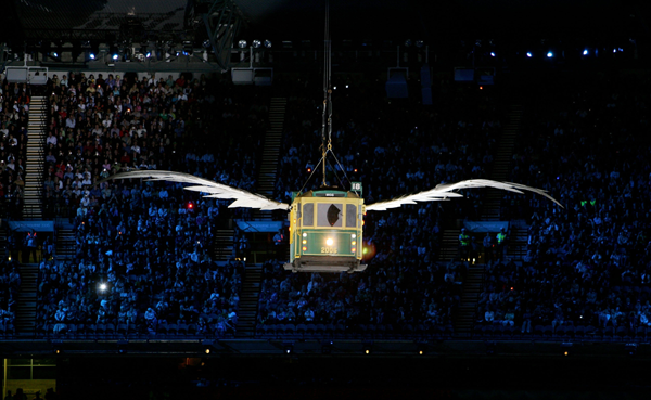 Flying tram at the Commonwealth Games Melbourne 2006.