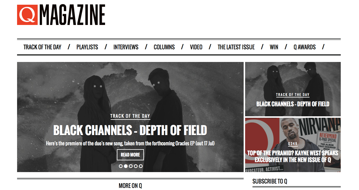 Depth of Field (from my  black channels  project)got Q Magazine track of the day yesterday.