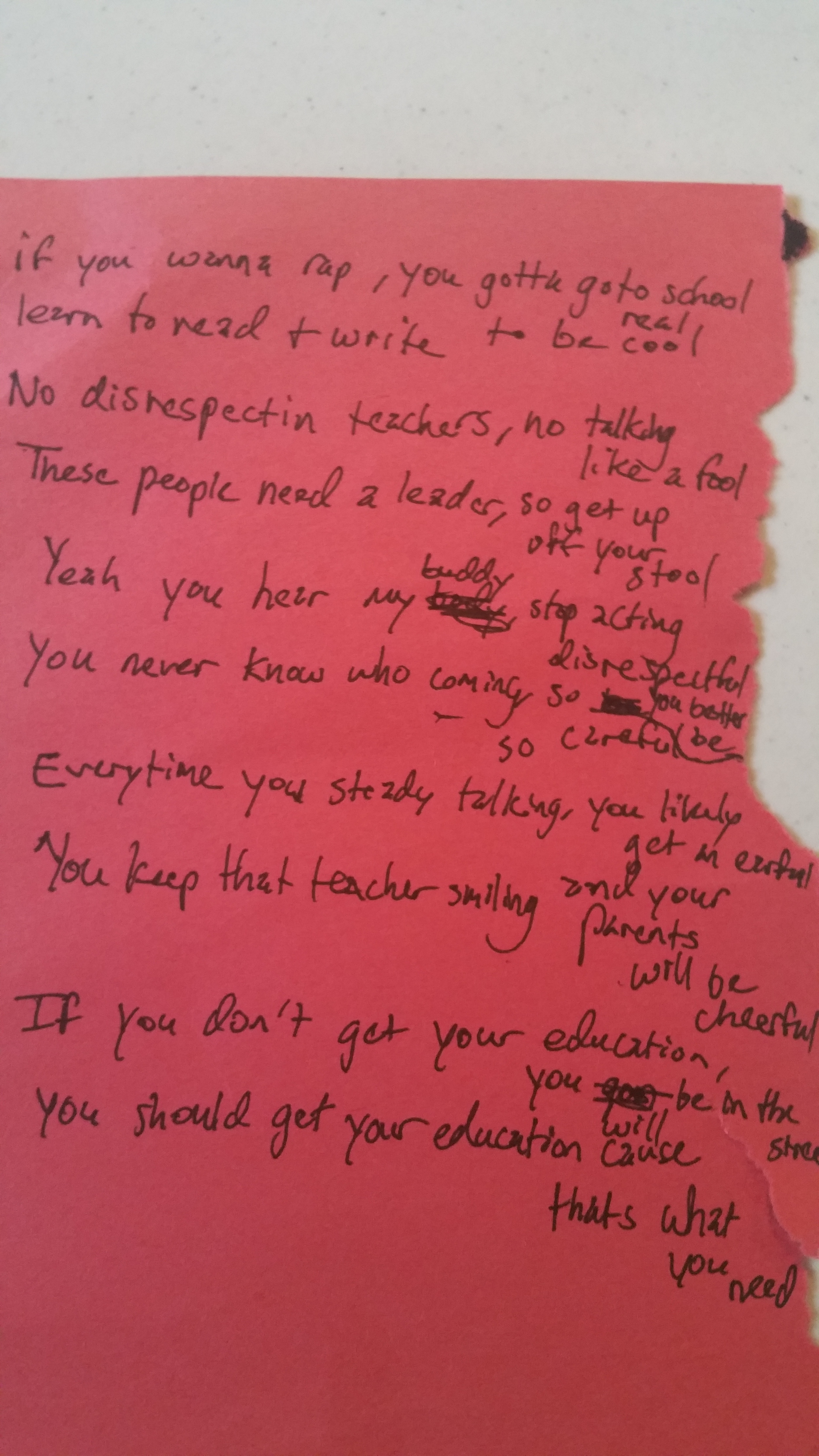 *Image of a rap duet developed with 10 yr. old at New City Fellowship South church. Working one-on-one brought his behavior issues to an end. Through our partnership, he excitedly performed a piece about losing a friend to gun violence in front of several of his peers and many adults at the church summer program.