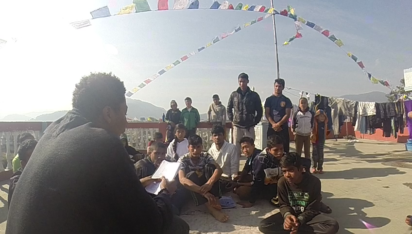 *Image of a series of workshops conducted at schools in Nepal. This one is of the boys at Nepal Orphan's Home. I read some of my work at their request, after which we had an open discussion about art as a survival tactic in a global context.