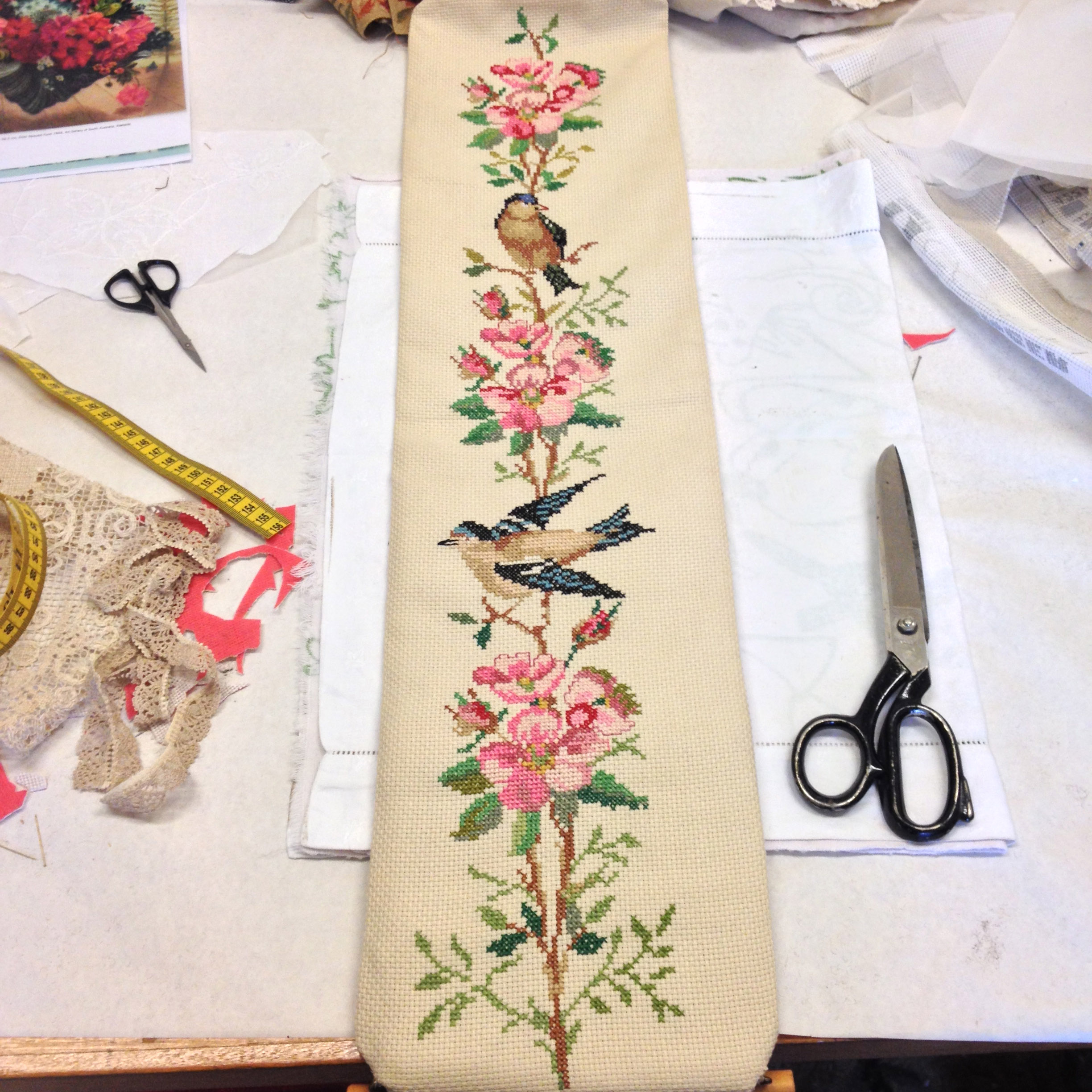 Needlepoint birds and flowers