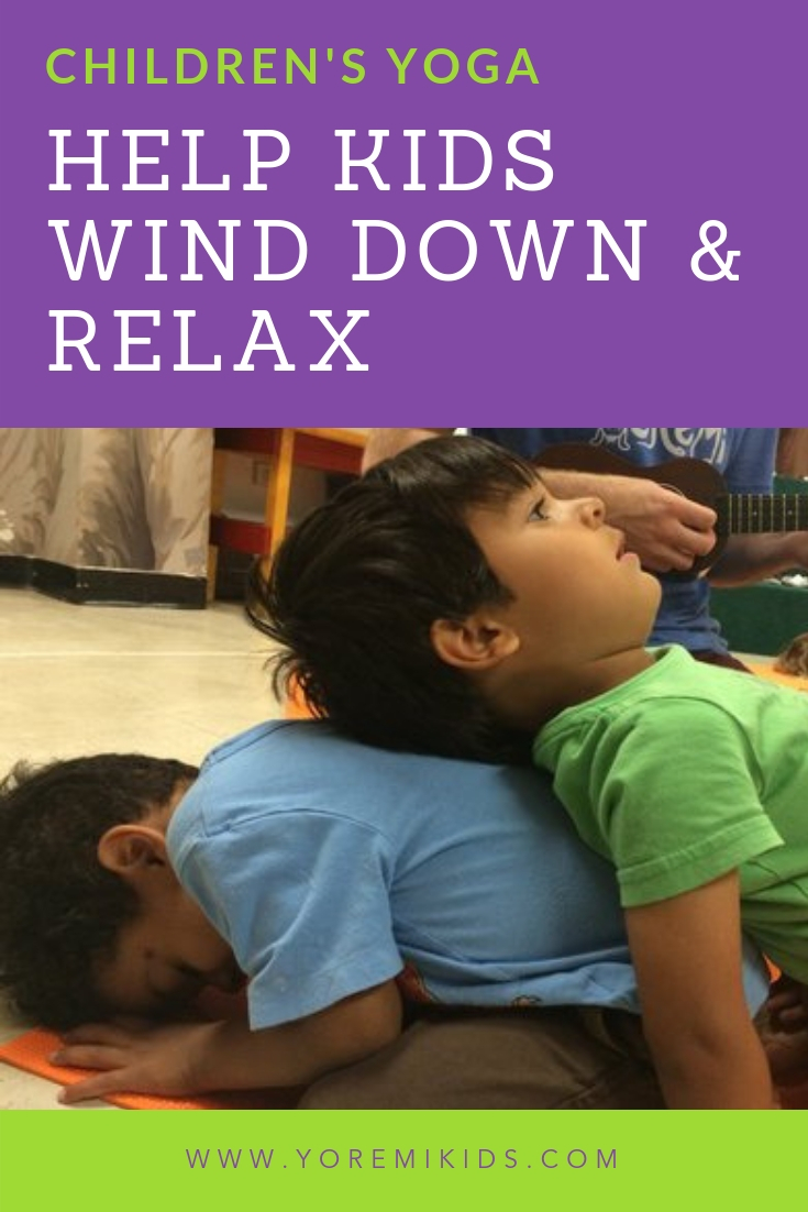 Ways to help kids wind down relax-childs pose-YRM