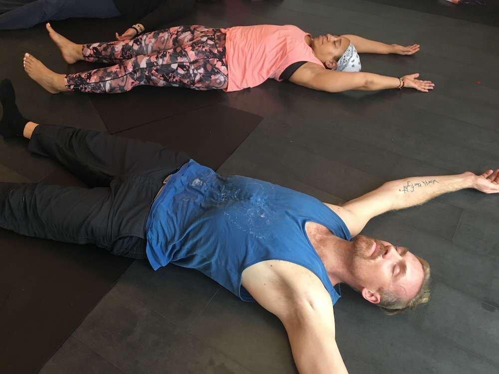 Savasana during yoga teacher training