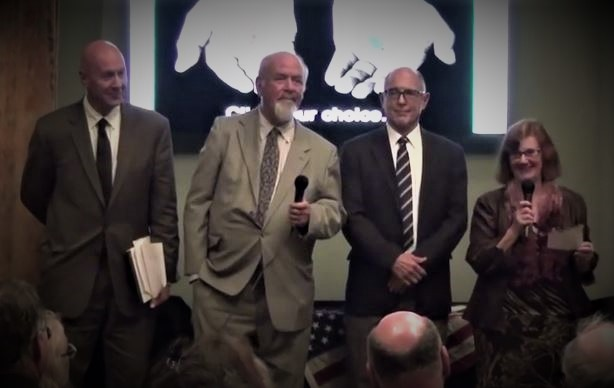 L to R David Meiswinkle, JD, Bill Jacoby, Esq., Richard Gage, AIA, Barbara Honegger, MS