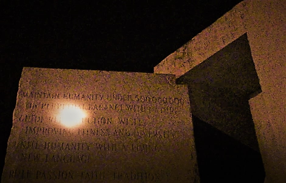 "Georgia Guide Stones at Night: ""Maintain Humanity Under 500,000,000"" Photo by Pamela Senzee"