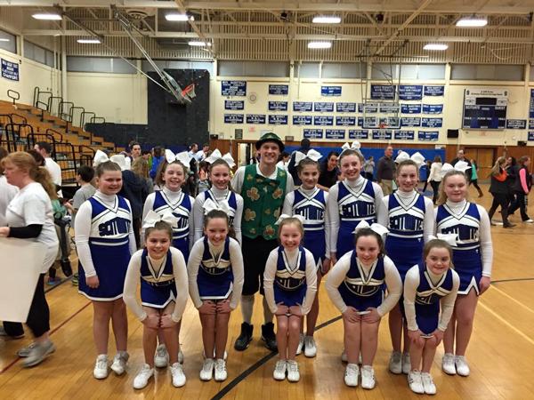 5th Grade SciCoh Cheerleaders with Boston Celtics' mascot, Lucky the Leprechaun