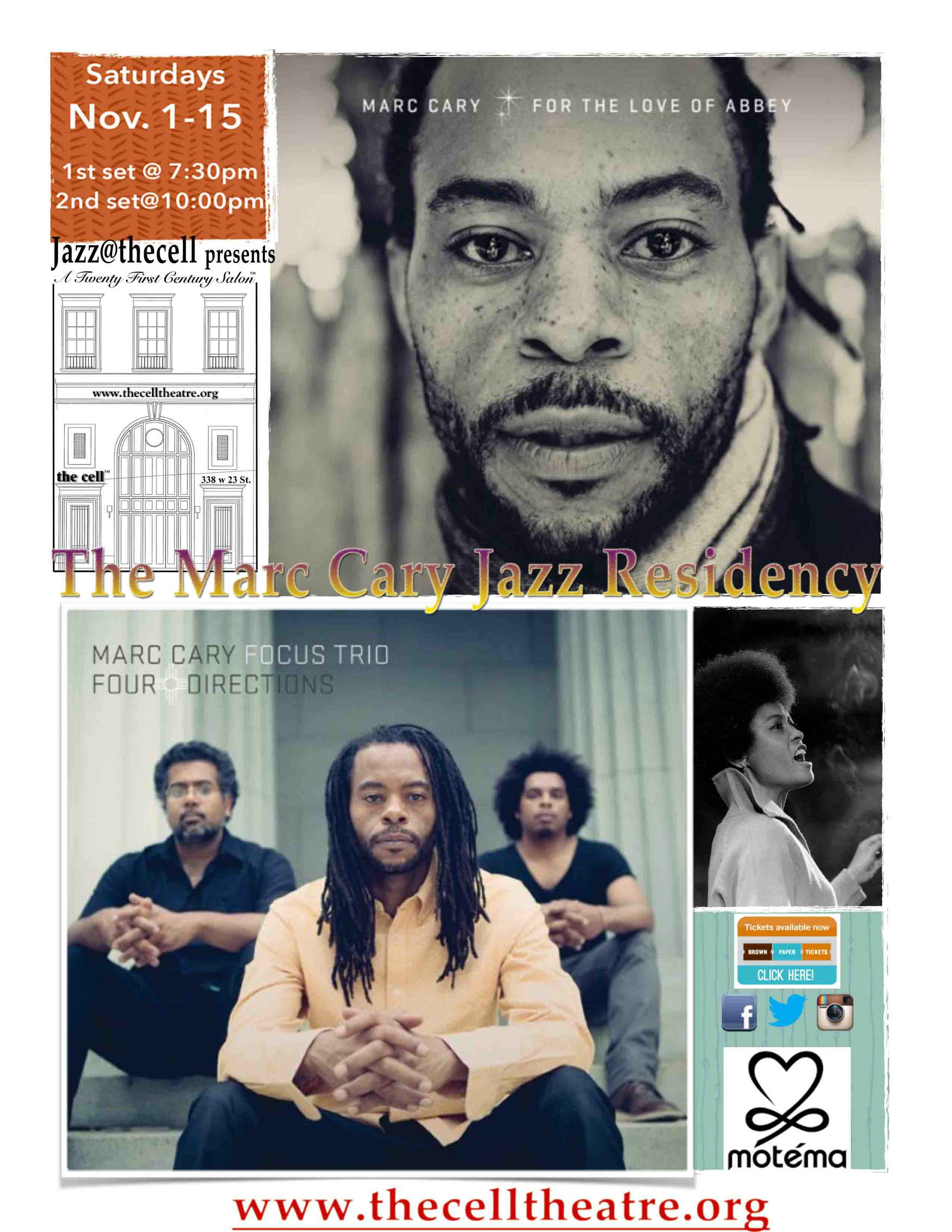 """Marc Cary: The Key Man– Jazz residency @the cell         Saturday Nov, 8      1st Set at 7:30 pm      2nd Set at 10:00 pm       Recently voted""""Rising Star"""" keyboardist    in Downbeat's 62nd annual Critic's Poll in 2014, pianist, keyboardist and composer, Marc Cary has become known as one of the best and most original jazz pianists in New York.He is a graduate of the rigorous bandstand academy long run by late vocalist Betty Carter,as well as a 12 years tenure accompanying Abbey Lincoln, and he plays with the big ears and vivid improvisational imagination that she required. As we enter into 2015, Marc Cary embarks upon celebrating 20 years as a lead recording artist as well as 10 years with indie jazzsensationMotema Music.    This 3 night residency will celebrate along and diverse recording career, anchored by Focus Trio and joined by some very special friends.       Saturdays 1st and 8th November          1st set 7:30 pm - Marc Cary Focus Trio: A celebration of Abbey Lincoln         2nd set 10:00 pm - Focus Trio  with special guests Pyeng Threadgill and Latosha Diggs         Saturday 15th November       Focus Trio and friends - covering material from Marc's 20 year recording career        1st Set 7:30 pm - A Marc Cary Retrospective Part I      2nd Set 10:00 pm - A Marc Cary Retrospective Part II     featuring Focus Trio , Rhodes Ahead , Indigenous People"""
