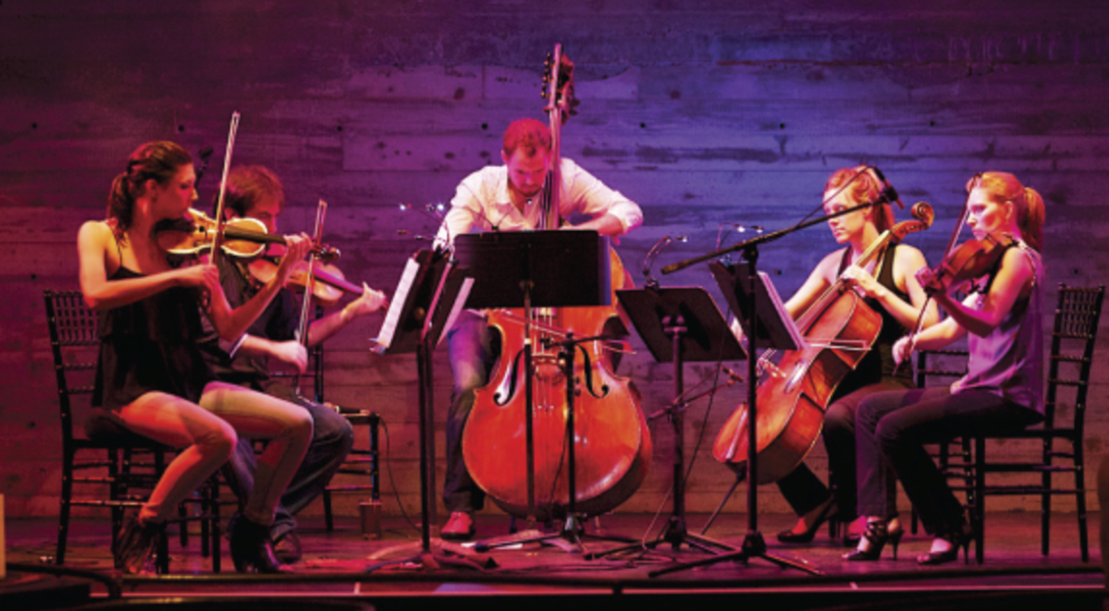 """Sybarite5 @the cell: w/ special guests Blythe Gaissert, Djordje Nesic, & Sean Ritenauer    SYBARITE5 RETURNS HOME TO NYC FOR TWO CONCERTS @THE CELL   w/NYC PREMIERES AND NEW COLLABORATIONS    November 6 & 7, 2014, 8:00pm   @the cell, 338 w 23rd St, NYC (btwn 8th & 9th)    Acclaimed string quintet Sybarite5 continues their 2014 residency with groundbreaking collaborations at the cell in Chelsea, NYC. The concerts include reimagined works by Frederic Rzewski and Emmy-award winner Glen Roven. Three distinguished guest artists will join Sybarite5: mezzo-soprano Blythe Gaissert from the Metropolitan Opera, pianist Djordje Nesic, and percussionist Sean Ritenauer, who frequently performs with the New York Philharmonic.    Rzewski's intense work, Coming Together combines an instrumental score with chilling narration, the text of which comes from letters written by an inmate by Attica prison inmate Sam Melville who was one of the leaders of the 1971 Attica riots. Roven's sweeping new work Goodnight Moon derives its text from the popular children's book of the same name. In addition to these collaborative performances, Sybarite5 will perform works from its eclectic repertoire, including Radiohead, Piazzolla and recent commissions from Andy Akiho and Shawn Conley.       """"Their rock star status is well deserved. Their classically honed technique mixed with grit and all out passionate attack transfixes the audience...""""   That is how the Sarasota Herald Tribune described Sybarite5, the first string quintet ever selected as a winner of the Concert Artists Guild International Competition and Sylvia Ann Hewlett Adventurous Artist Prize. Comprised of Sami Merdinian and Sarah Whitney, violins; Angela Pickett, viola; Laura Metcalf, cello; and Louis Levitt, bass, Sybarite5 has taken audiences by storm all across the US, forever changing the perception of chamber music performance. From the moment their bows hit the strings, this quintet of talented, diverse musicians takes the audience """