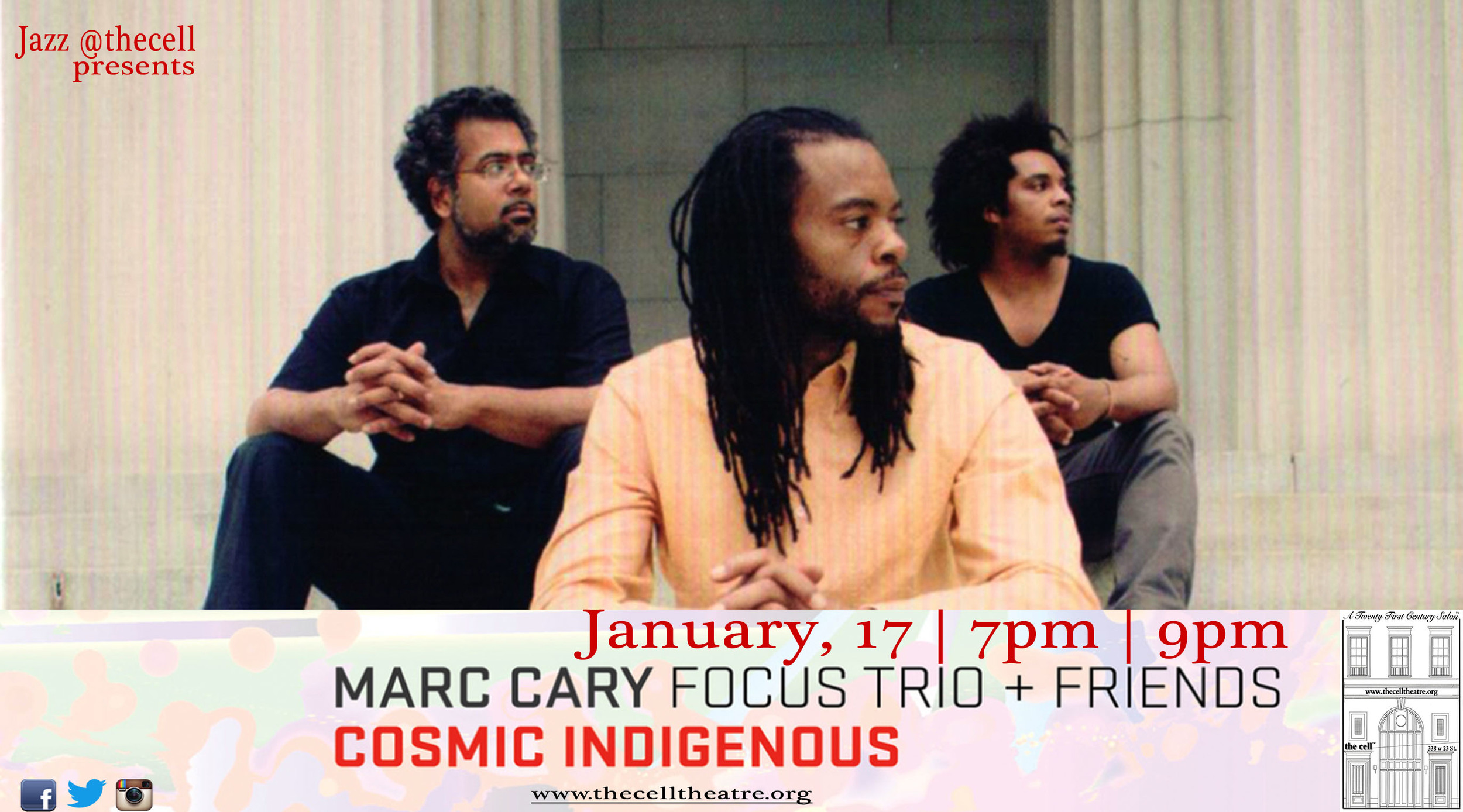 Indigenous People is a group Marcstarted along with Tarus Mateen and Yarborough Charles Laws in 1998. Theyrecorded several records in the span of 6 years.  In 2010, Marcdecided to explore these same concepts with Focus Trio, which were started by Indigenous People, and became Cosmic Indigenous.  They brought some of our favorite musical contributors into the fold, to appear on the upcoming residencyand accomplish the sound rooted from Indigenous People.  Almost all of thesongs that will be performed at the cell on Jan. 17 are rooted in the concept of North Indian classical raga music, but with the melodic voice of Awa Sangho from Mali singing traditional Malian desert melodies that appear in both cultures in the same tonal set.