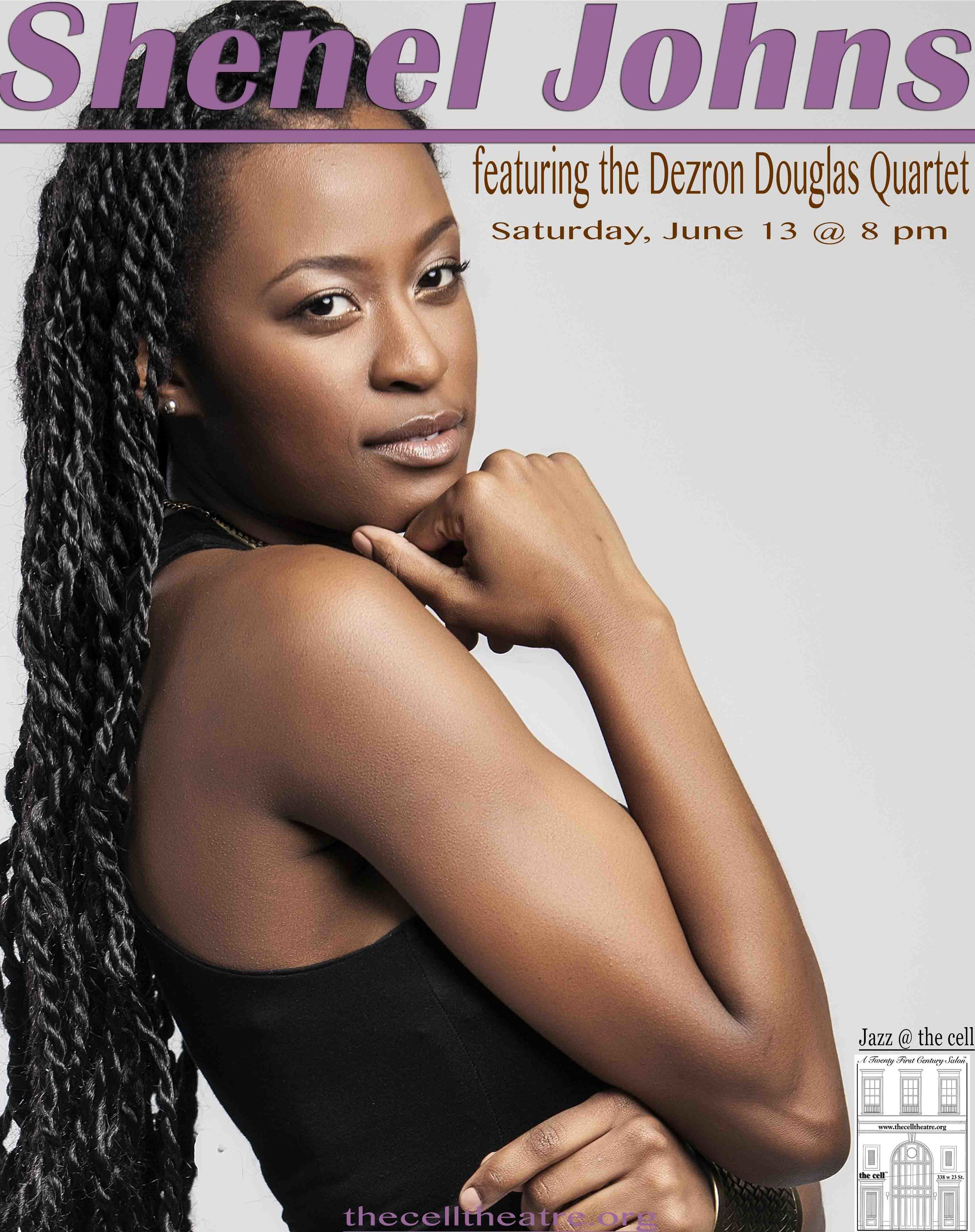 """Shenel Johns  is a native of Hartford, CT. She received a B.A. in Music Management and Jazz Studies at the Hartt School of Music where she studied Jazz voice and Music Management with legends such as Rene McLean, Shawnn Monteiro, Nat Reeves, and Steve Davis. Her major influences to date are Nancy Wilson, Ella Fitzgerald, and Betty Carter. This song bird has been performing across the New England area since the age of 14 and has opened up for recording artists Sheila Jordan, Hank Jones, and Harold Mabern to name a few.     Shenel's ambitions are not only to be among the most successful Crossover Jazz musicians of her generation but to keep the world of Jazz alive.    About her residency @ the cell, Shenel stated, """"  I have had the greatest pleasure of playing in venues around New York since my residency.  the cell  is by far a platform unlike any other I've experienced. With a comfortable and intimate set up and staff that is more like family: this venue will be the space that I create without inhibitions, where the stage extends into audience, and where my rawest and purest material will be first received by like minded enthusiasts!"""""""