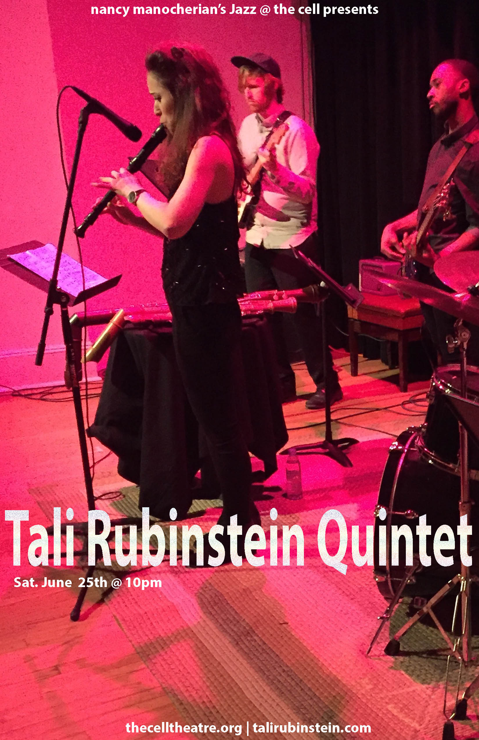 "NYC based recorder player, singer, and composer Tali Rubinstein began her musical path as a young girl. A student of recorder player and singer Bracha Kol, she has been professionally trained in classical recorder performance for 15 years, later on to dive into the jazz and be-bop world with jazz flautist Ilan Salem. Tali has graduated with honors from prestigious music institutions in Israel: Thelma Yellin High School of the Arts (classical performance), Rimon School of Jazz and Contemporary Music, and The Jerusalem Academy of Music and Dance (jazz performance). Recently, Tali graduated with honors from Berklee College of Music, Boston.  During her studies at Berklee College Tali was discovered by multiple Grammy Award winning Spanish producer Javier Limón.  Tali has been collaborating with Limón ever since, including on his masterpiece album ""Promesas De Tierra"", and on the 2015 Latin Grammy Award winning album ""Entre 20 Aguas"" - a tribute to Paco De Lucia (alongside Chick Corea, Dhafer Youssef, Michel Camilo, Chucho Valdéz and Alejandro Sanz)."