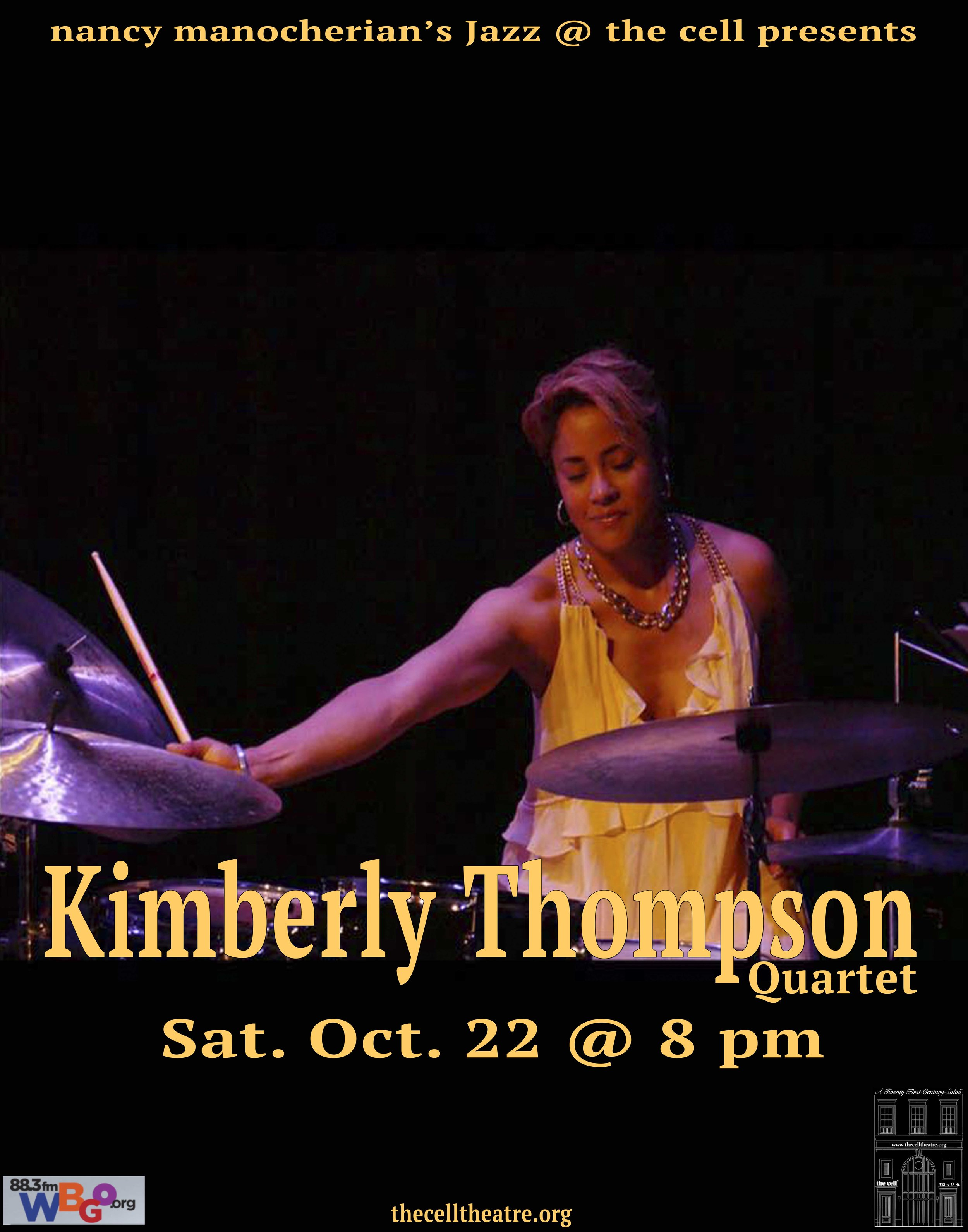 """Kimberly Thompson - Born in Los Angeles, CA; raised in St. Louis, MO., is a three time Grammy winner and noted drummer whose success has traversed from performing all over the universe with top pop & jazz icons as Beyoncé Knowles & fusion guitarist Mike Stern. A young television composer, as well as an actress, and hosting house drummer for television show """"Late Night w/Seth Meyers first season, writer of opening & closing theme song on the legendary TV network NBC.  Kimberly is the President of female founded record label, producing 6 records & 200 films, on label ©KTMUSICPRODUCTIONS, a Harlem, NY based production company committed to film, history, live performances, education, compositions, & lyrical songwriting.  Her latest Jazz CD release, Treasures Abound (A Tribute to the Jazz Greats) features her dynamic drumming & arranging featuring some of jazz & Walt Disneys timeless musical selections recorded by jazz giants like Miles Davis, Bill Evans, & Thelonious Monk; showcasing modern themed classical etudes & jazz original songs written & performed with her jazz quartet."""