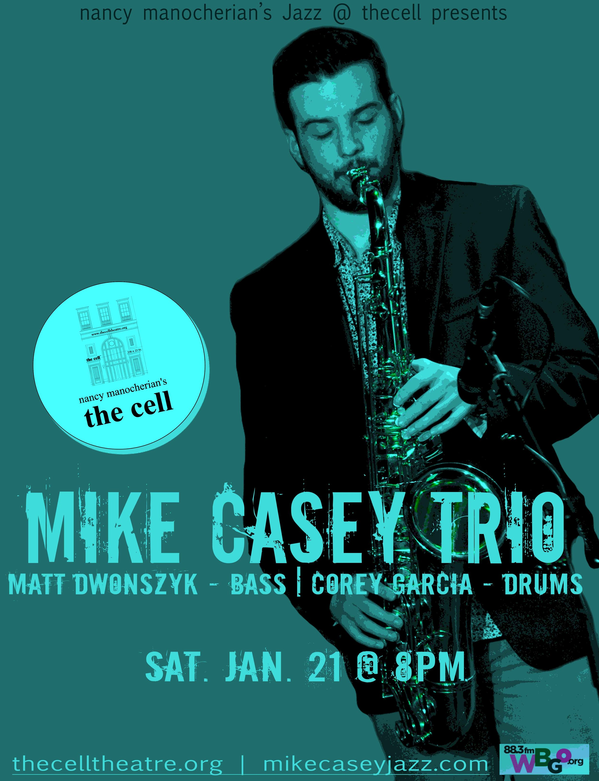 """Saxophonist, songwriter, and teaching artist  Mike Casey  has been a fixture on the Hartford jazz scene and beyond since 2011, when he began attending the acclaimed  Jackie McLean  Institute of Jazz at the University of Harford's Hartt School. In 2015, Mike was one of 24 young jazz composers worldwide chosen by Jason Moran to participate in the prestigious """"Betty Carter Jazz Ahead"""" Program at the Kennedy Center in Washington, DC where he studied with an all-star faculty including  Eric Harland, JD Allen, Eric Revis, Cyrus Chestnut , and  Jason Moran .  After a sold out NYC debut at the Minton's in Harlem in September 2016, Mike went on to accomplish an incredible feat: the crowdfunding campaign for his debut album """"The Sound of Surprise: Live at The Side Door"""" (due for a February 2017 release) reached 111% funded in under 30 days. His resume includes appearances with  Charles Tolliver, DJ Logic, Brandee Younger, Zaccai Curtis, Tarus Mateen  and  Marc Cary , whose project  """"The Harlem Sessions""""  features Mike as an original member.  Mike has enchanted audiences young & old alike, performing a unique blend of upbeat, accessible, original music and exciting arrangements of jazz standards with a mature lyricism and a sound that commands the attention of the audience."""