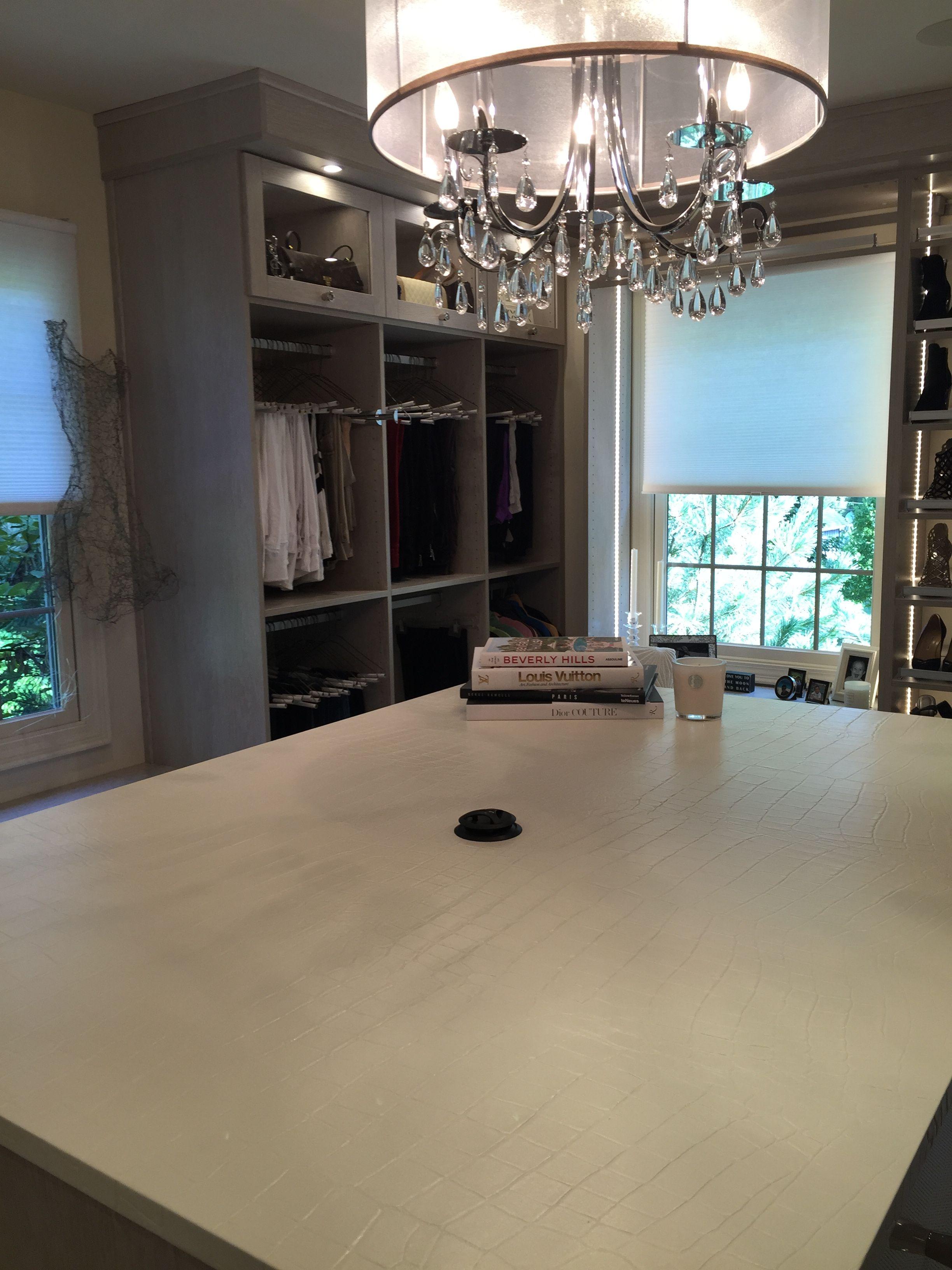 EcoDomo Bianco dECOLeather Countertop in a Closet.JPG