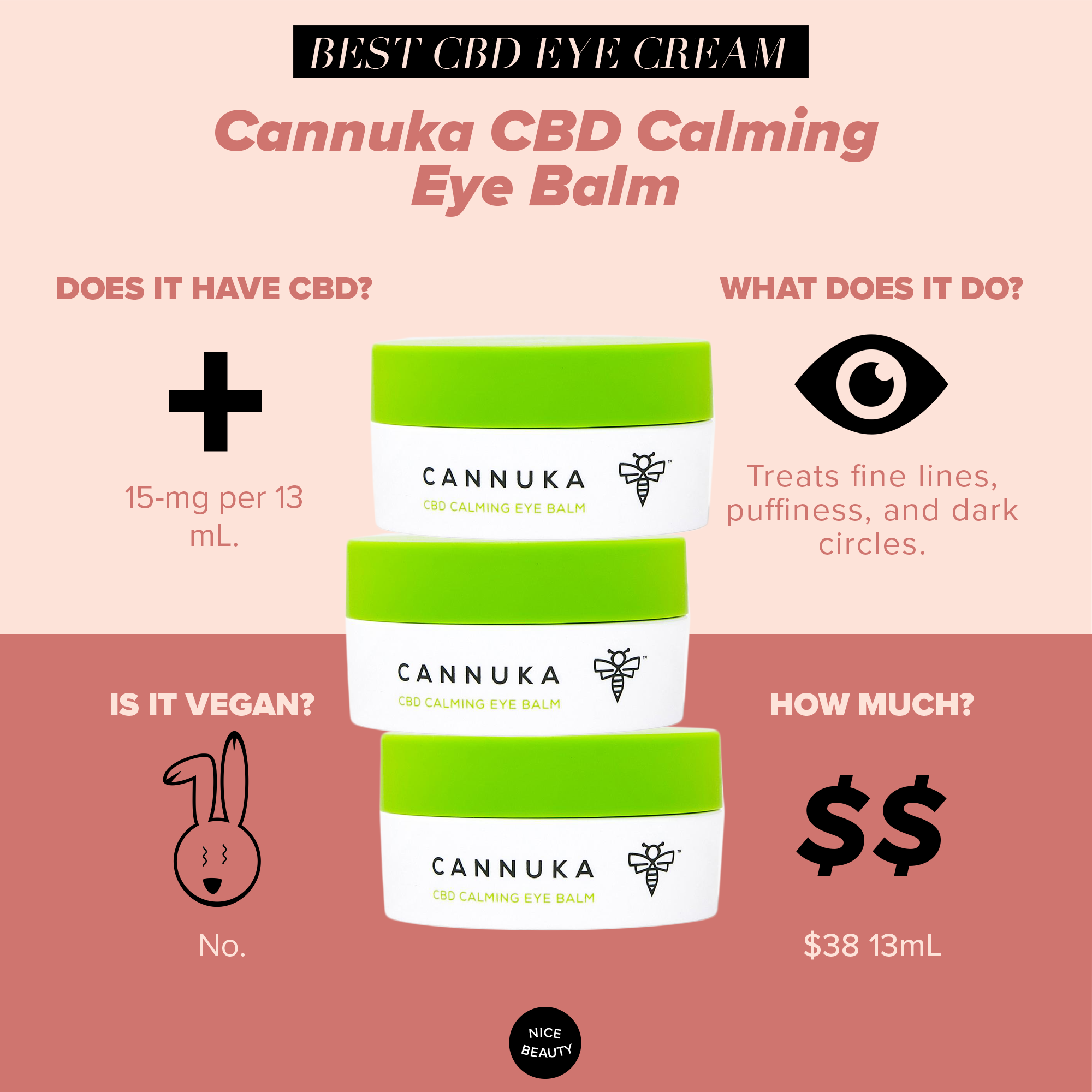 Cannuka CBD Calming Eye Balm - This CBD balm combines the restorative powers of Manuka honey with CBD's anti-inflammatory properties. A mix of healing oils hemp seed, Rose, Grapeseed and charged with Vitamin E, this balm creates a protective barrier and melts into your skin, smoothing fine lines while lightening dark circles.