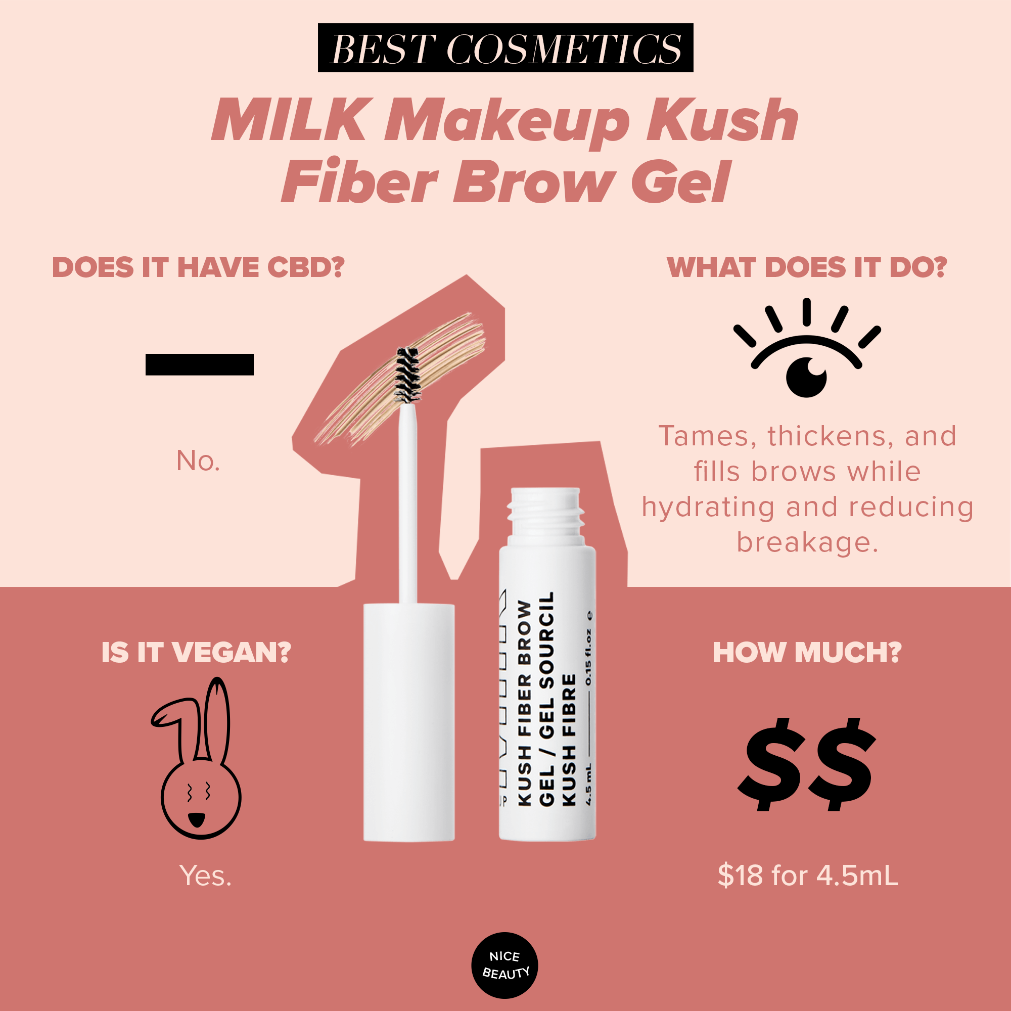 "MILK Makeup Kush Fiber Brow - We all love having cooperative brows: brows that listen to us, that do as we ask. Powders can go on uneven, some waxes and gels flake, others dry out your brow follicles, and some veer on Bert brows rather than ""bold"" brows. Kush's brow wand helps keep your brows hydrated and in place with some people reporting that it helps them grow in thicker over time. In four shades, this gel is the only product you need to get luscious and well-behaved brows."